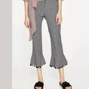 Zara Woman Black/White Gingham/Pom-Pom Hem